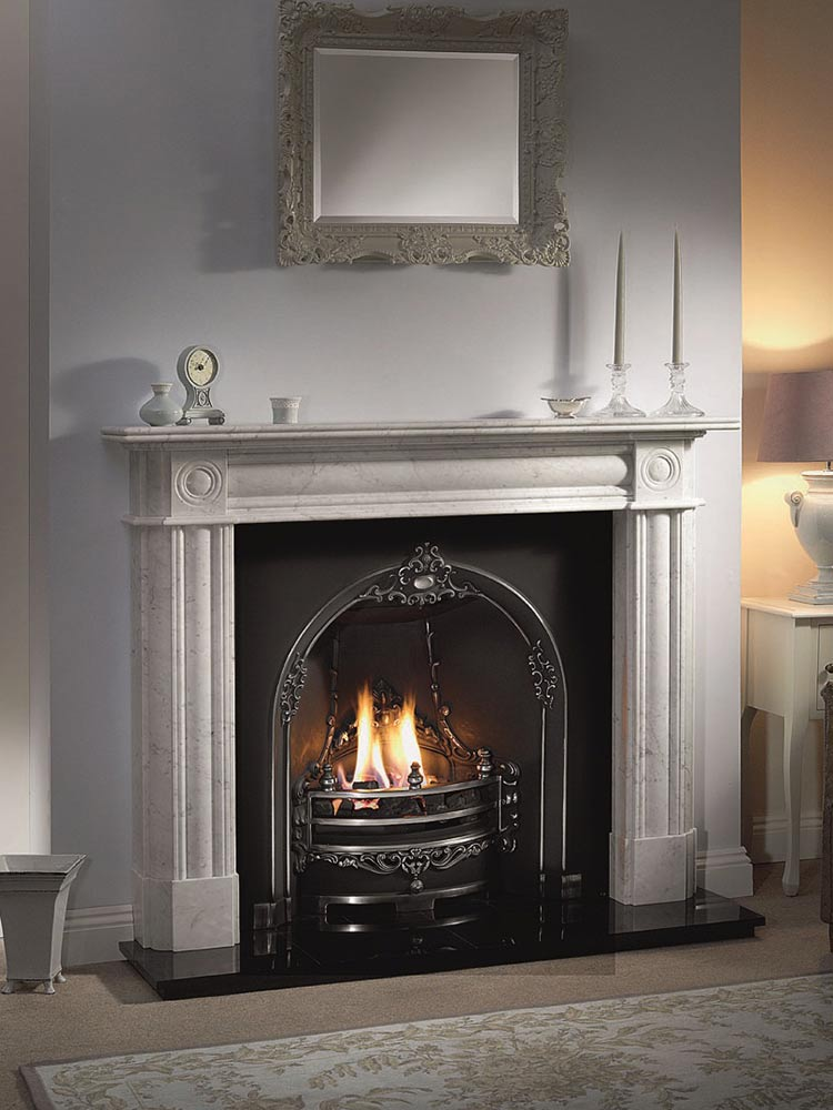 "Chiswick 56"" Carrara marble mantel with Gloucester highlight cast iron insert, real coal fire and 54"" slabbed granite hearth"