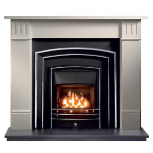"""Clarendon 56"""" Agean limestone mantel with Monroe highlight fascia, open-fronted gas convector fire with Lunar frame and 54"""" granite hearth"""