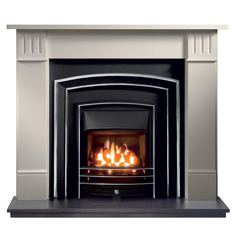 "Clarendon 56"" Agean limestone mantel with Monroe highlight fascia, open-fronted gas convector fire with Lunar frame and 54"" granite hearth"