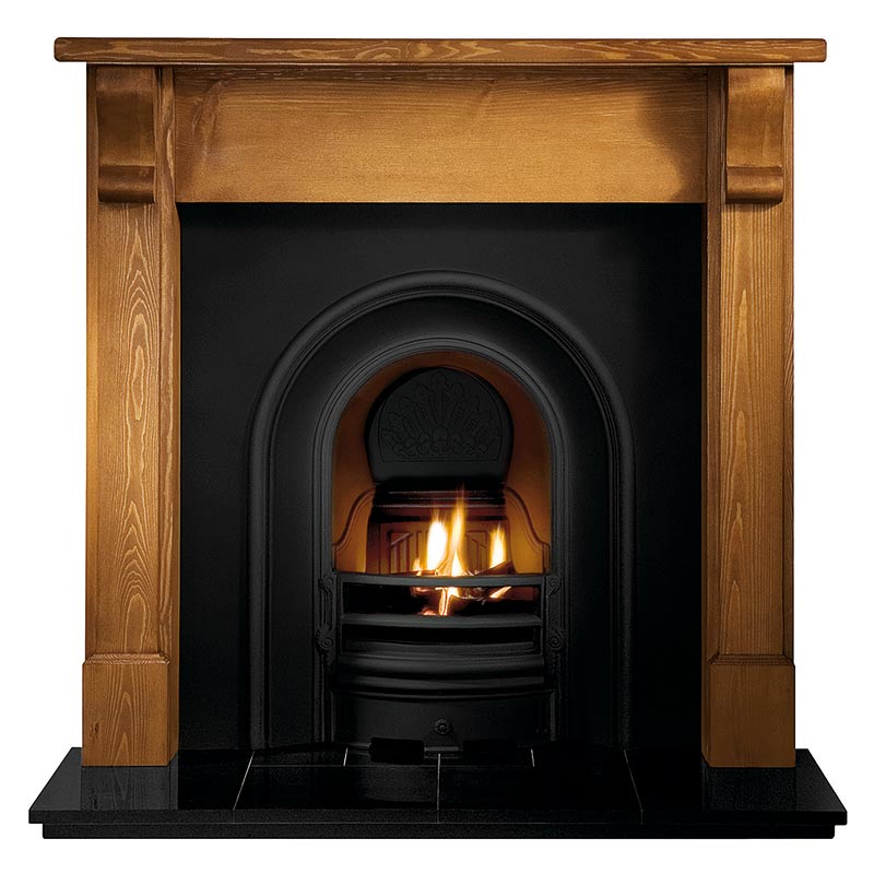 "Bedford 48"" pine mantel with Coronet black arched insert, real log fire and 48"" slabbed granite hearth"