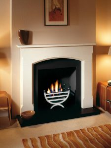 """Woburn 54"""" Agean limestone mantel with Small Cottage fire basket in polished finish, decorative gas fire with ceramic coals, slate slips, cast iron reeded panel chamber, 54"""" slate hearth and slate back hearth"""