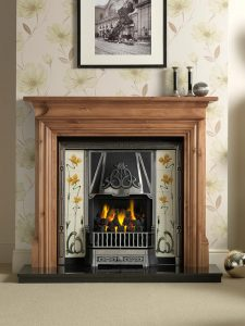 """Danesbury 54"""" pine mantel with Toulouse highlight Efficiency Plus Insert and Sweeping Rose yellow/ivory tiles, open-fronted convector fire and 54"""" granite hearth"""