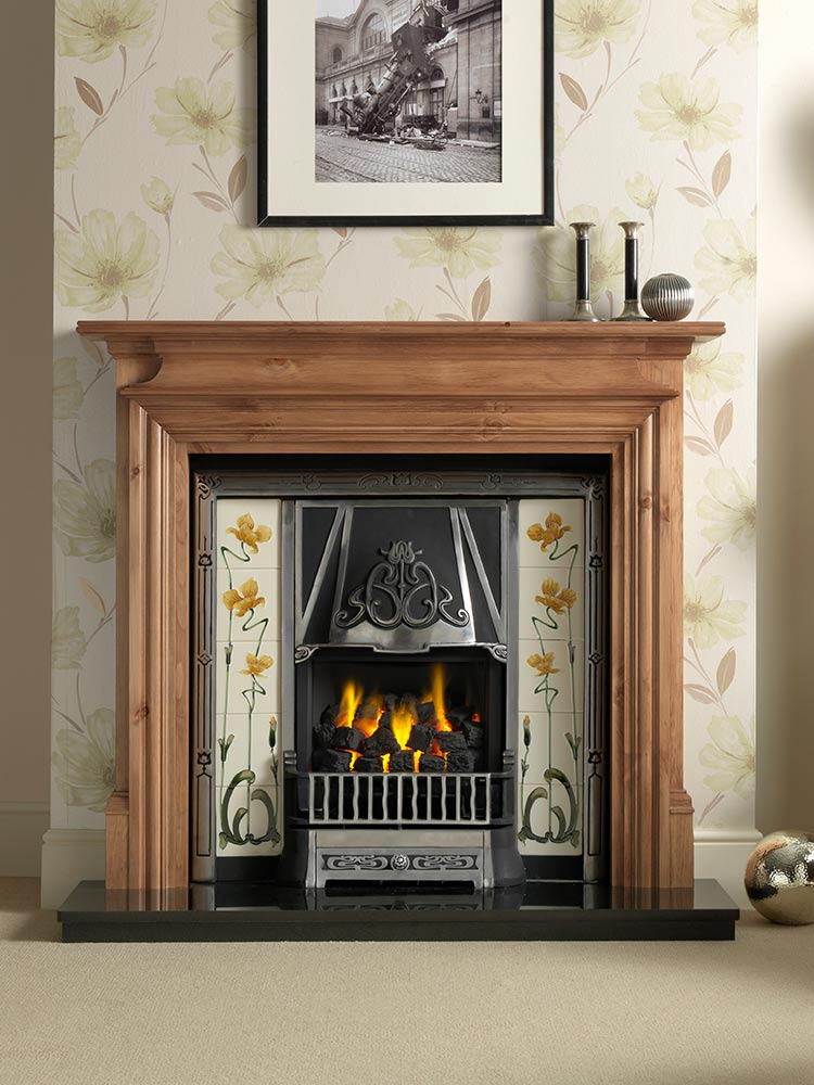 "Danesbury 54"" pine mantel with Toulouse highlight Efficiency Plus Insert and Sweeping Rose yellow/ivory tiles, open-fronted convector fire and 54"" granite hearth"