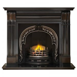 "Dublin 60"" granite mantel with Fitzwilliam highlight arched insert, decorative gas fire with ceramic coals and 60"" granite hearth"