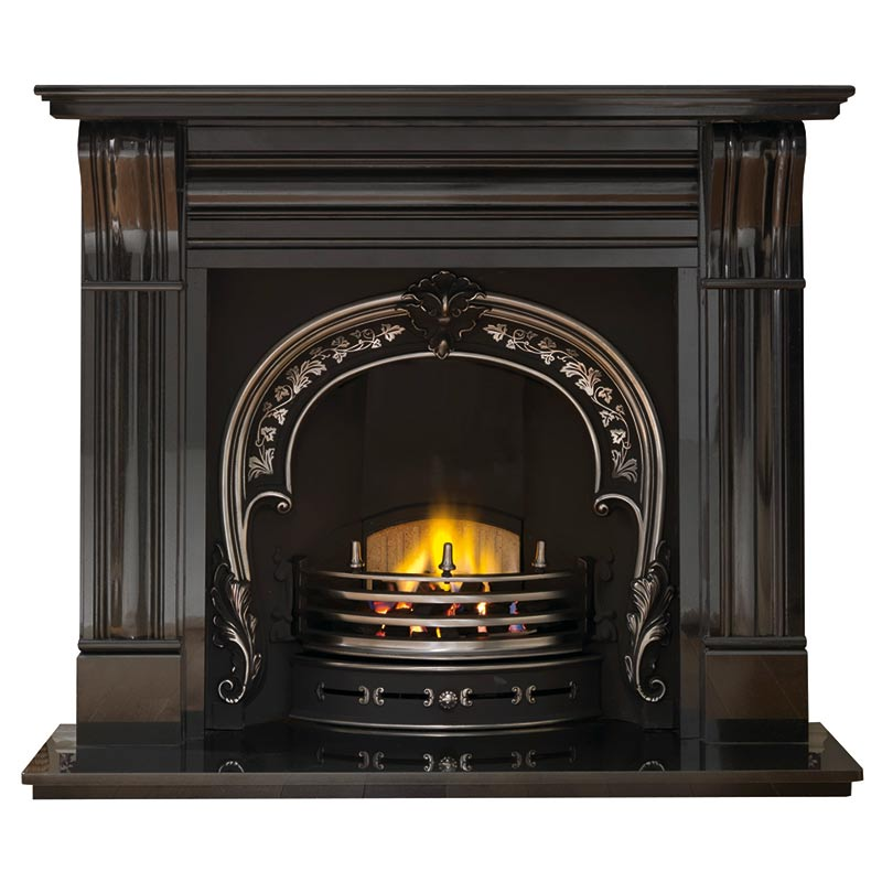 "Dublin 60"" granite mantel with Fitzwilliam highlight arched insert, decorative gas fire with ceramic coals and 60"" granite hearth"