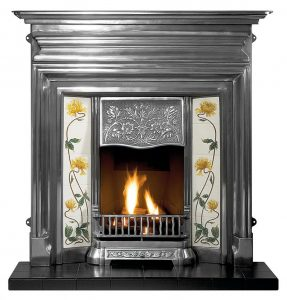 """Edwardian 48"""" full-polished combination fireplace with decorative gas fire, ceramic logs, Sweeping Rose Yellow/Ivory tiles and 48"""" slate hearth"""