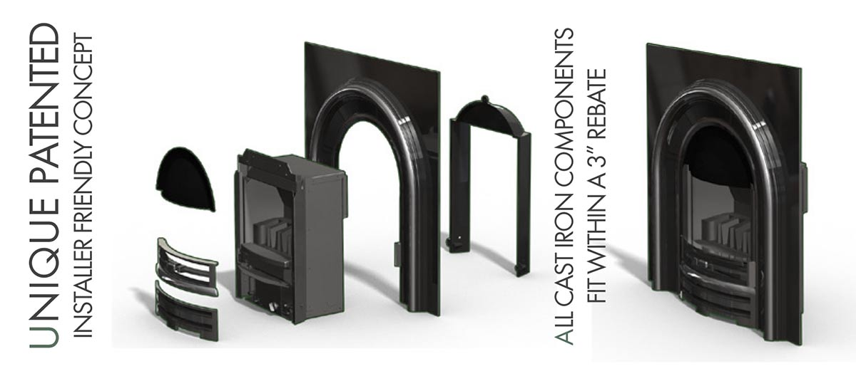 "Unique, patented,  installer-friendly concept - all cast iron components fit within a 3"" rebate"