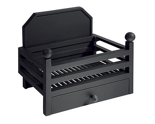 Elan fire basket with back in black