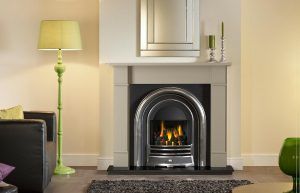 """Forano 51"""" Chatsworth Grey finish mantel with Jubilee highlight Efficiency Plus Insert, open-fronted gas convector fire and 51"""" granite hearth"""