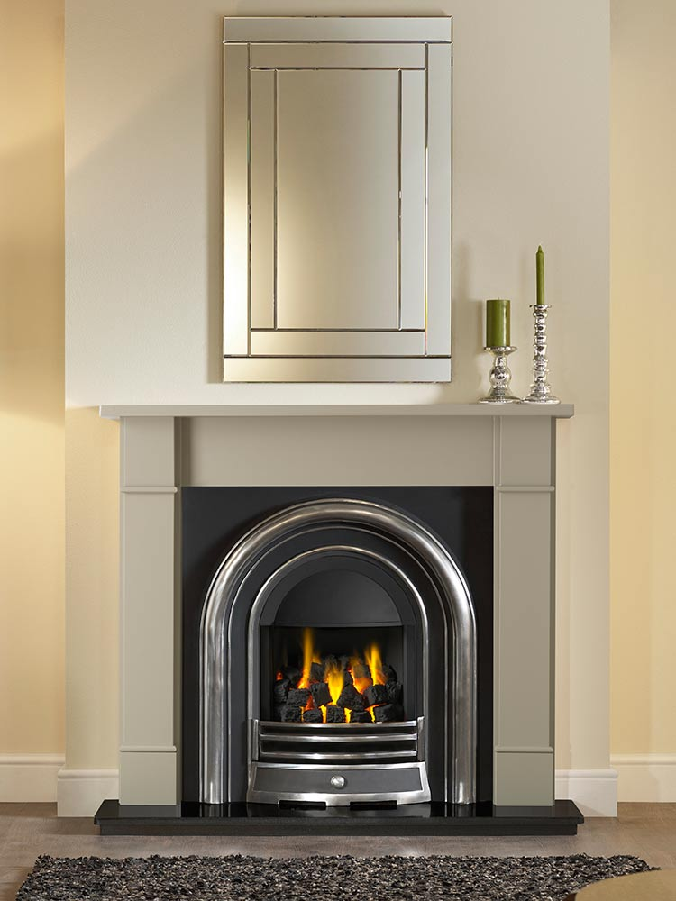 "Forano 51"" Chatsworth Grey finish mantel with Jubilee highlight Efficiency Plus Insert, open-fronted gas convector fire and 51"" granite hearth"