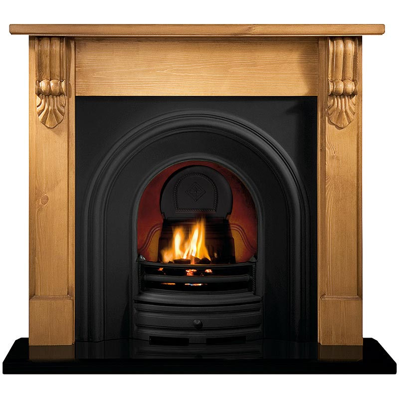 "Grand Corbel 54"" pine mantel with Crown black arched insert, decorative gas fire with ceramic coals and 54"" bevelled granite hearth"
