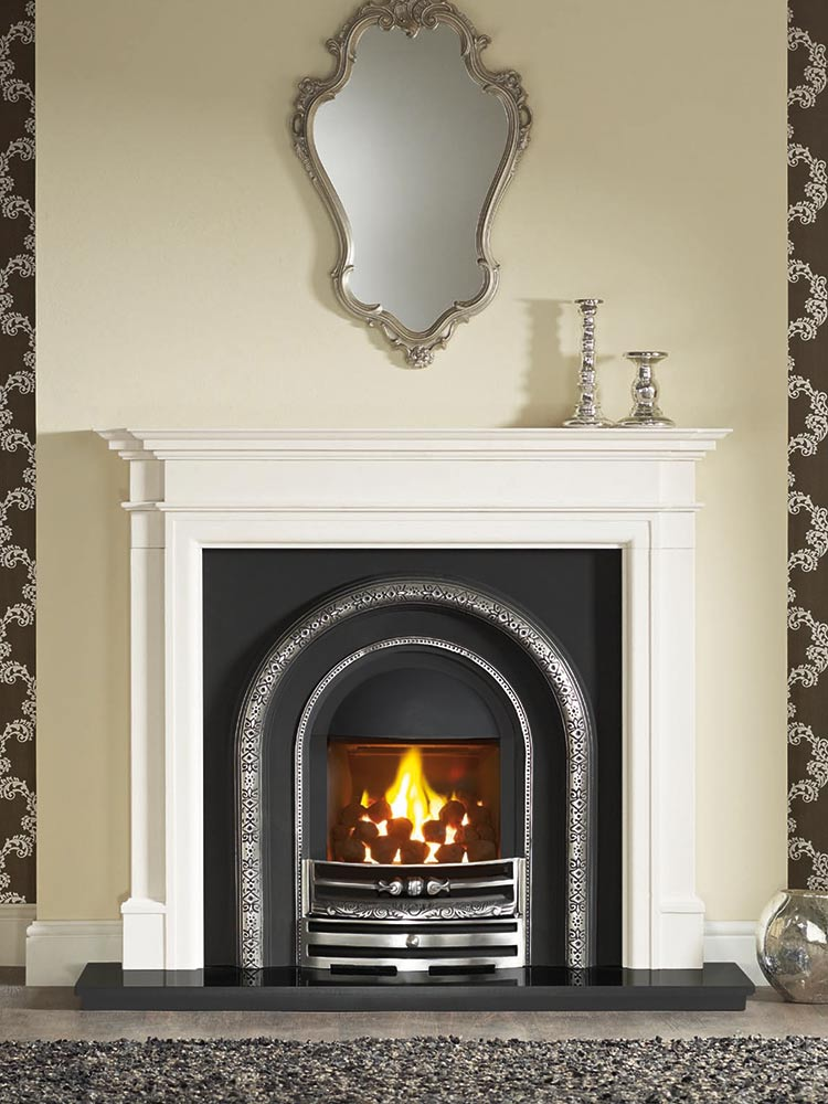 "Bartello 54"" Agean limestone mantel with Lytton half-polished Efficiency Plus Insert, glass-fronted gas convector fire (remote control) and 54"" granite hearth"