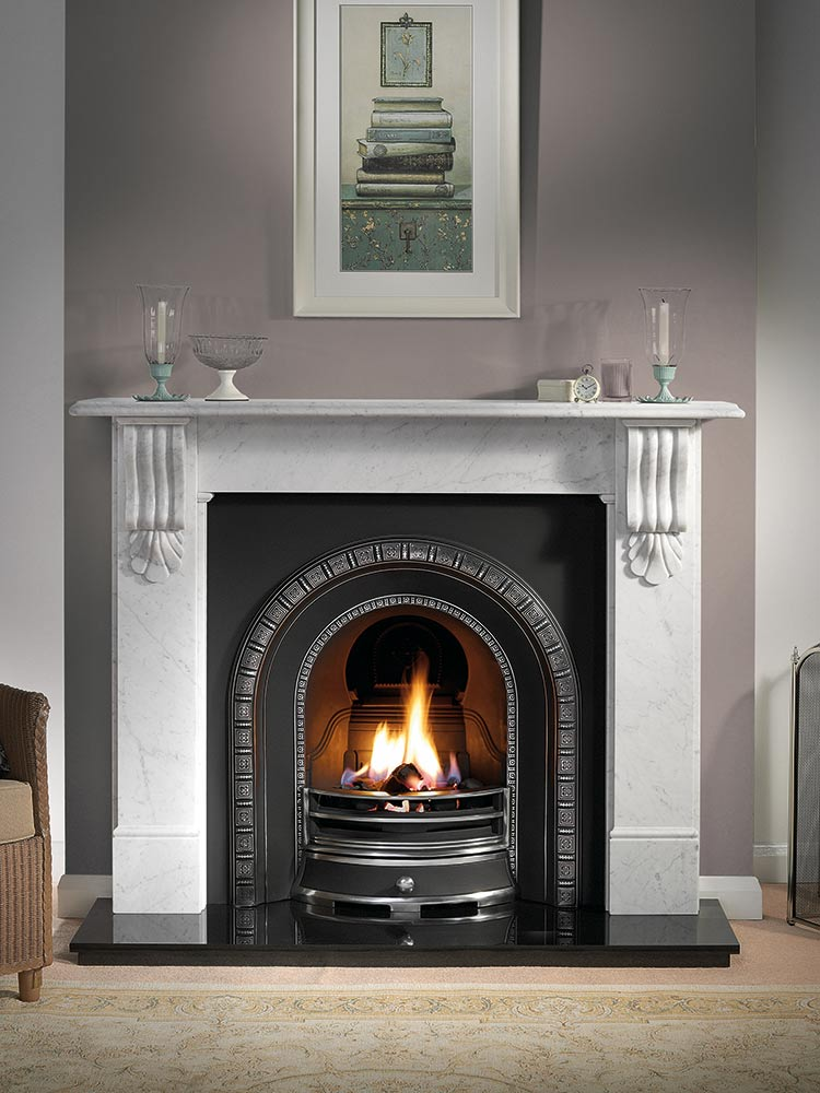"""Kingston 56"""" carrara marble mantel with Henley highlight arched insert, decorative gas fire with ceramic coals and 54"""" granite hearth"""
