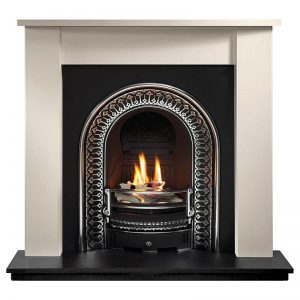 """Henlow 48"""" Agean limestone mantel with Regal highlight arched insert, decorative gas fire with ceramic firewood and 51"""" slate hearth"""