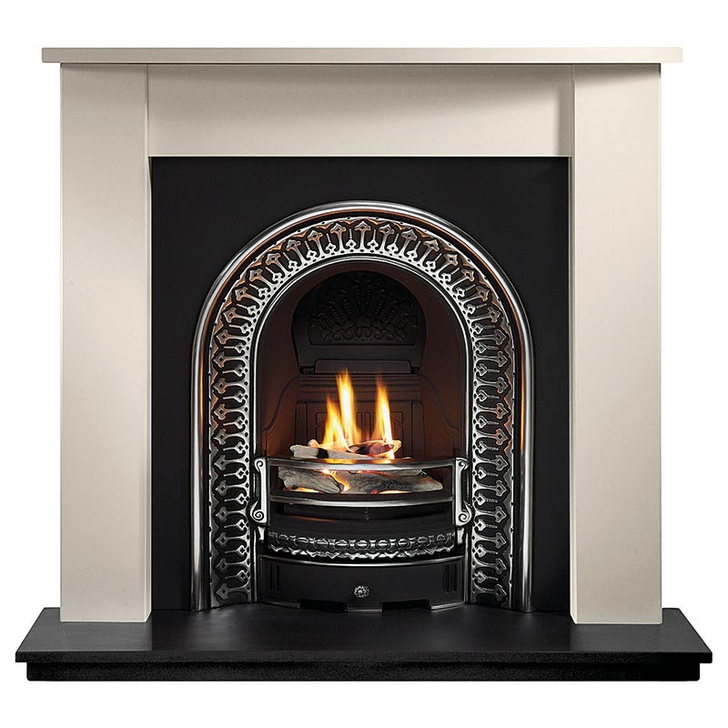 "Henlow 48"" Agean limestone mantel with Regal highlight arched insert, decorative gas fire with ceramic firewood and 51"" slate hearth"