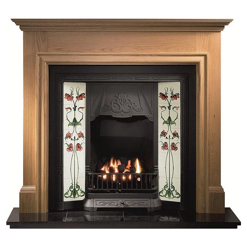 "Howard 53"" oak mantel with Toulouse black tiled insert, Haslingden burgundy/ivory tiles, real coal fire and 54"" slabbed granite hearth"