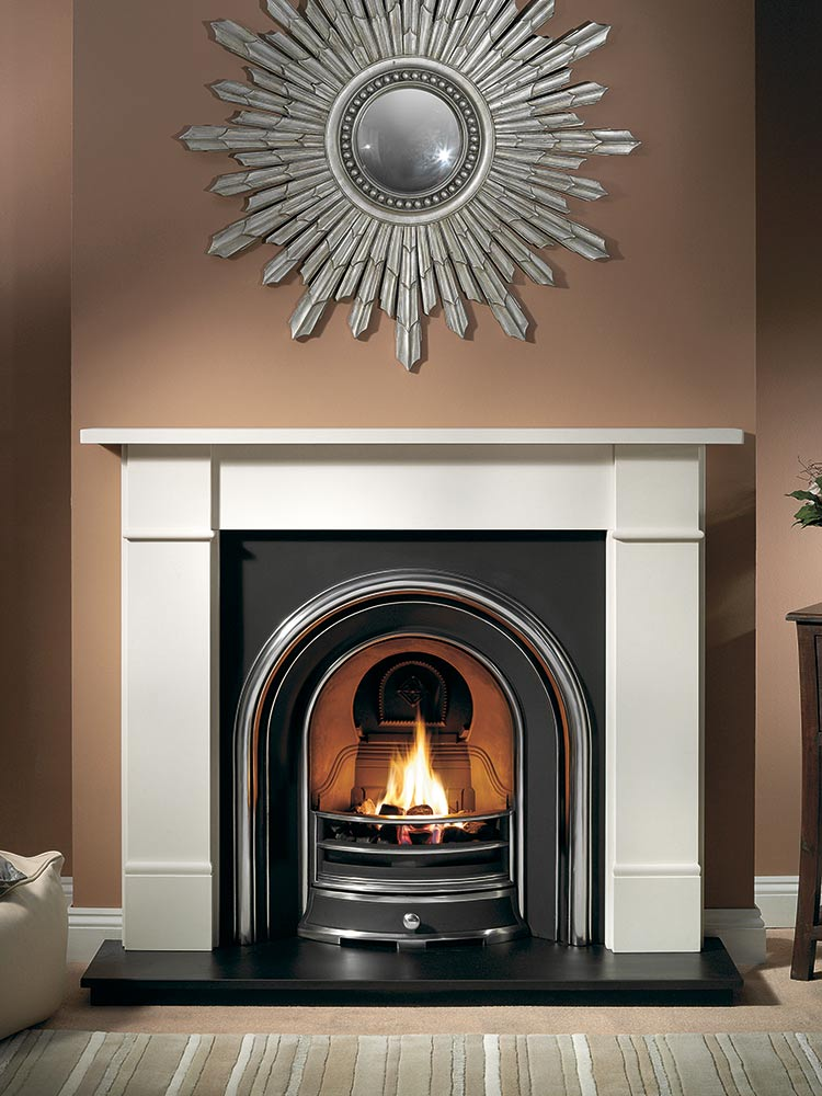 "Brompton 56"" Agean limestone mantel with Jubilee highlight insert, decorative gas fire with ceramic coals and 54"" slate hearth"