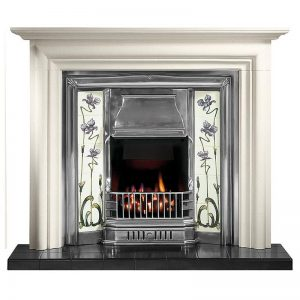"""Modena 55"""" Agean limestone mantel with Sovereign full polished tiled insert, Jazz lilac/ivory tiles, real coal fire and 54"""" ebony black tiled hearth for multi-fuel"""