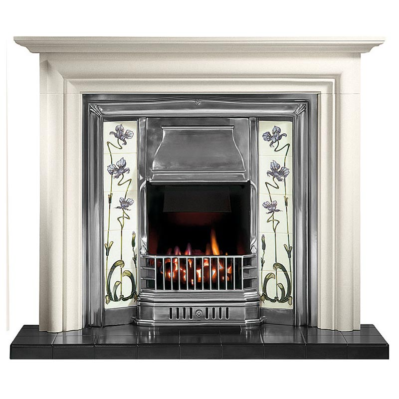 "Modena 55"" Agean limestone mantel with Sovereign full polished tiled insert, Jazz lilac/ivory tiles, real coal fire and 54"" ebony black tiled hearth for multi-fuel"
