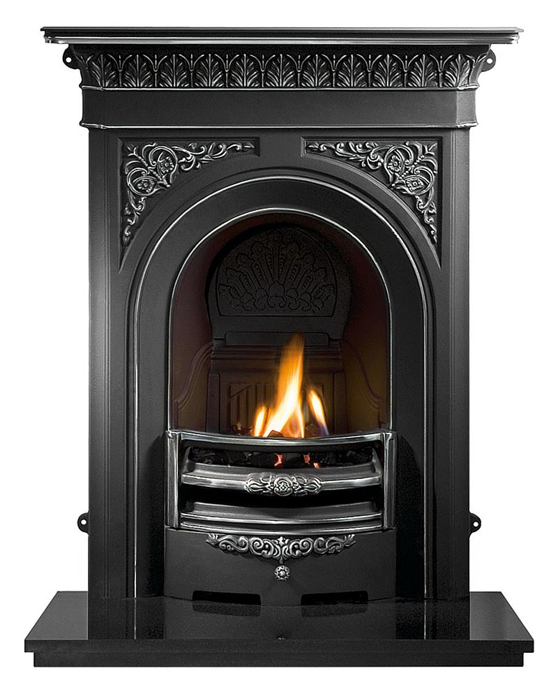"""Nottage 30"""" highlight combination fireplace with decorative gas fire, ceramic coals and 30"""" granite hearth"""