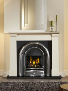 """Oslo 54"""" ivory perla micro marble mantel with Jubilee highlight Efficiency Plus Insert, open-fronted gas convector fire and51"""" granite hearth"""