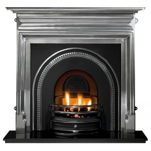 """Palmerston 54"""" polished cast iron mantel with Tradition highlight arched insert, decorative gas fire with ceramic coals and 54"""" granite hearth"""