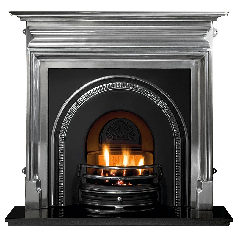 "Palmerston 54"" polished cast iron mantel with Tradition highlight arched insert, decorative gas fire with ceramic coals and 54"" granite hearth"