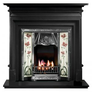 """Palmerston 54"""" black cast iron mantel with Toulouse highlight tiled insert, Jazz burgundy/ivory tiles, decorative gas fire with ceramic coals and 54"""" slate hearth"""