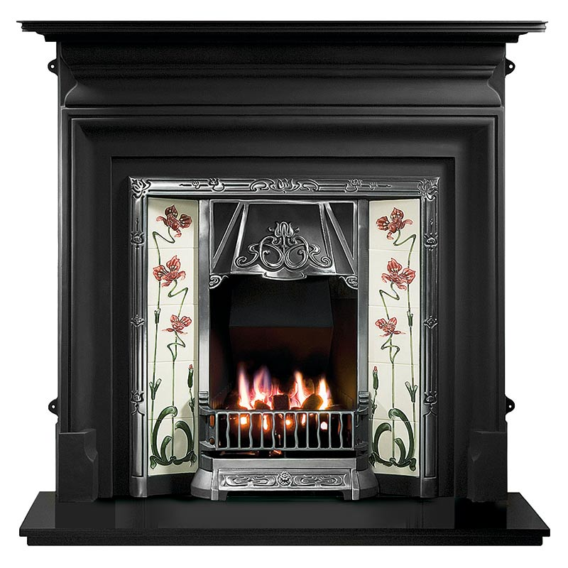 "Palmerston 54"" black cast iron mantel with Toulouse highlight tiled insert, Jazz burgundy/ivory tiles, decorative gas fire with ceramic coals and 54"" slate hearth"
