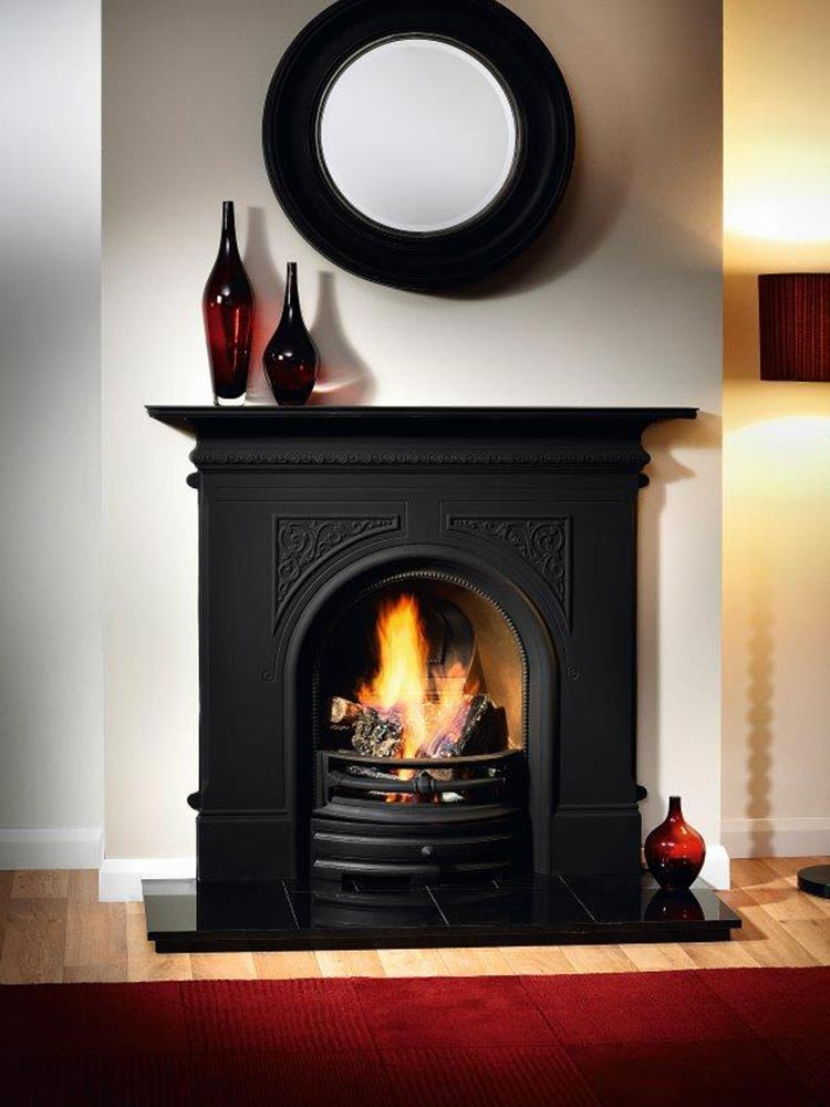 """Pembroke 48"""" black combination fireplace, real log fire and 48"""" slabbed granite hearth"""