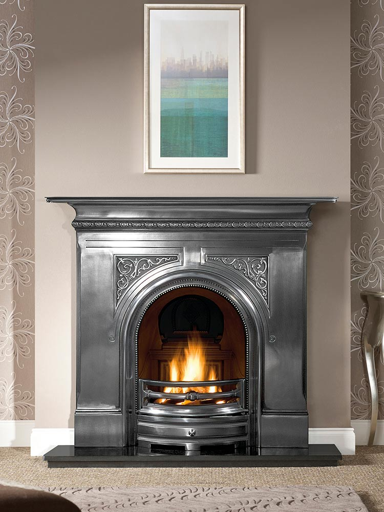 """Pembroke 48"""" full-polished combination fireplace, decorative gas fire with ceramic coals and 48"""" granite hearth"""