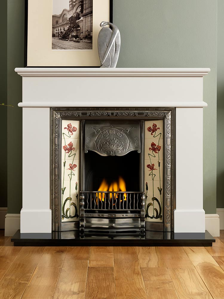"Pisa 54"" mantel in ivory perla micro marble, Normandy highlight tiled insert, Jazz burgundy/ivory tiles, decorative gas fire with ceramic coals and 54"" granite hearth"