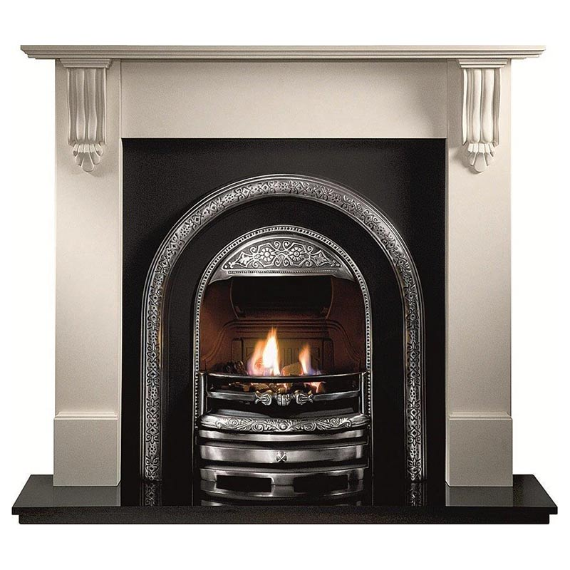 "Richmond 54"" Agean limestone mantel with Bolton highlight arched insert, Powerflue (no chimney option) and 54"" granite hearth"