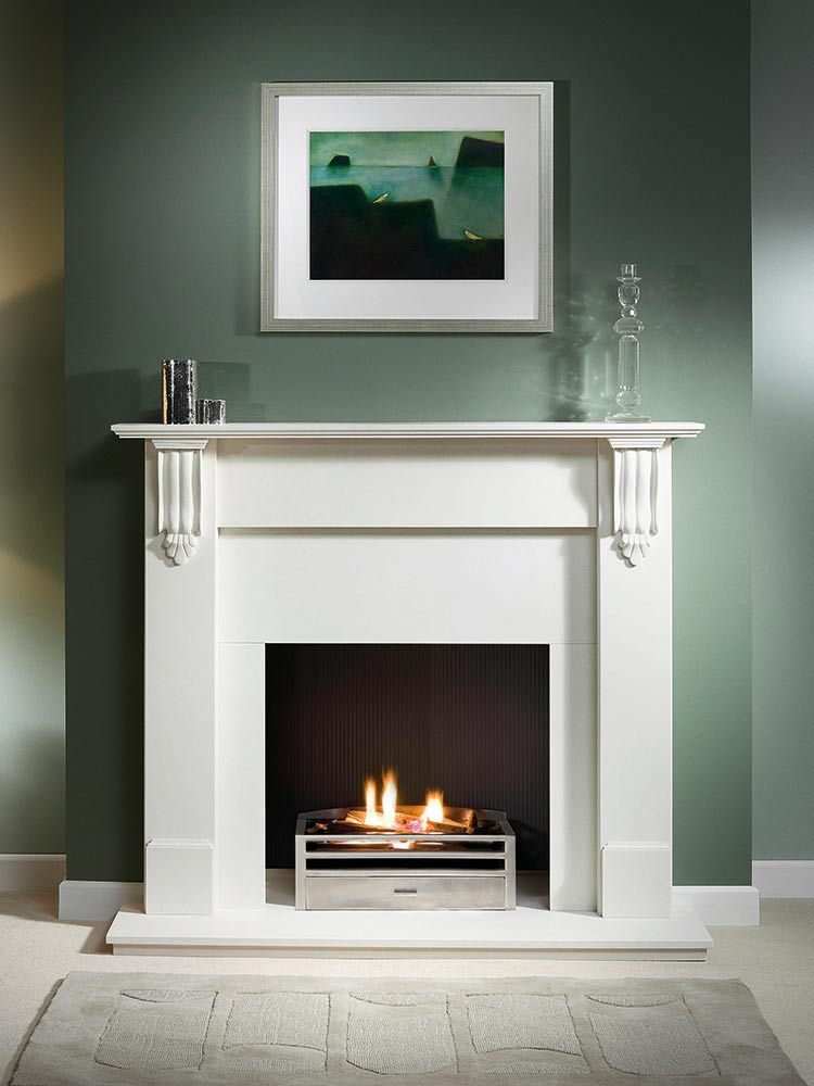 "Richmond 54"" Agean limestone mantel with Krypton fire basket with back in polished finish, decorative gas fire with ceramic logs, black painted reeded fireboard chamber, Agean limestone slips, 54"" Agean limestone hearth and Agean limestone back hearth"