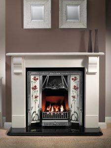 """Stourhead 56"""" Agean limestone mantel with Toulouse highlight tiled insert, Jazz burgundy/ivory tiles, decorative gas fire with ceramic coals and 54"""" waterfall granite heaerth"""