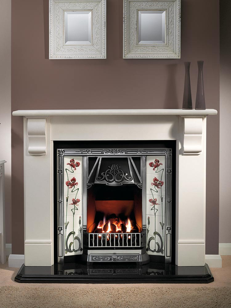 "Stourhead 56"" Agean limestone mantel with Toulouse highlight tiled insert, Jazz burgundy/ivory tiles, decorative gas fire with ceramic coals and 54"" waterfall granite heaerth"