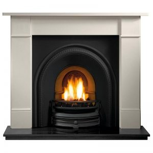 """Bromtpon 56"""" Agean limestone mantel with Tradition black arched insert, real coal fire and 60"""" slabbed granite hearth"""