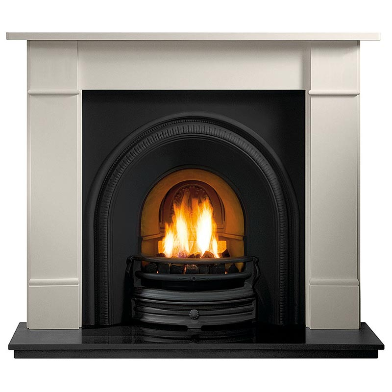 "Bromtpon 56"" Agean limestone mantel with Tradition black arched insert, real coal fire and 60"" slabbed granite hearth"