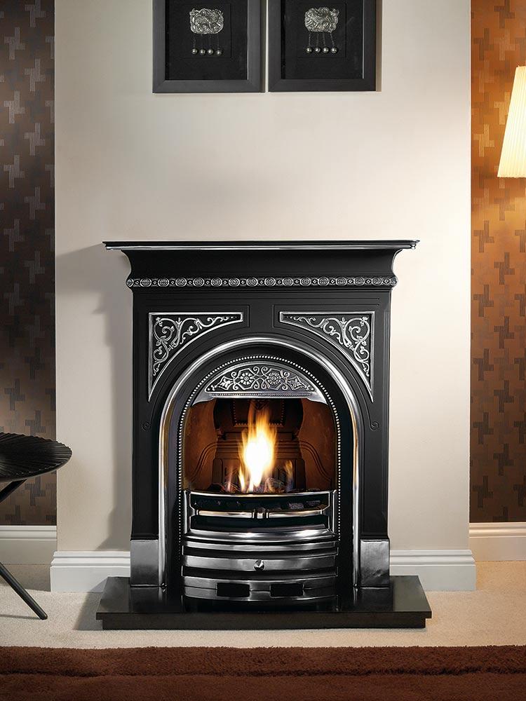 "Tregaron 36"" highlight combination fireplace, decorative gas fire with ceramic coals and 36"" granite hearth"