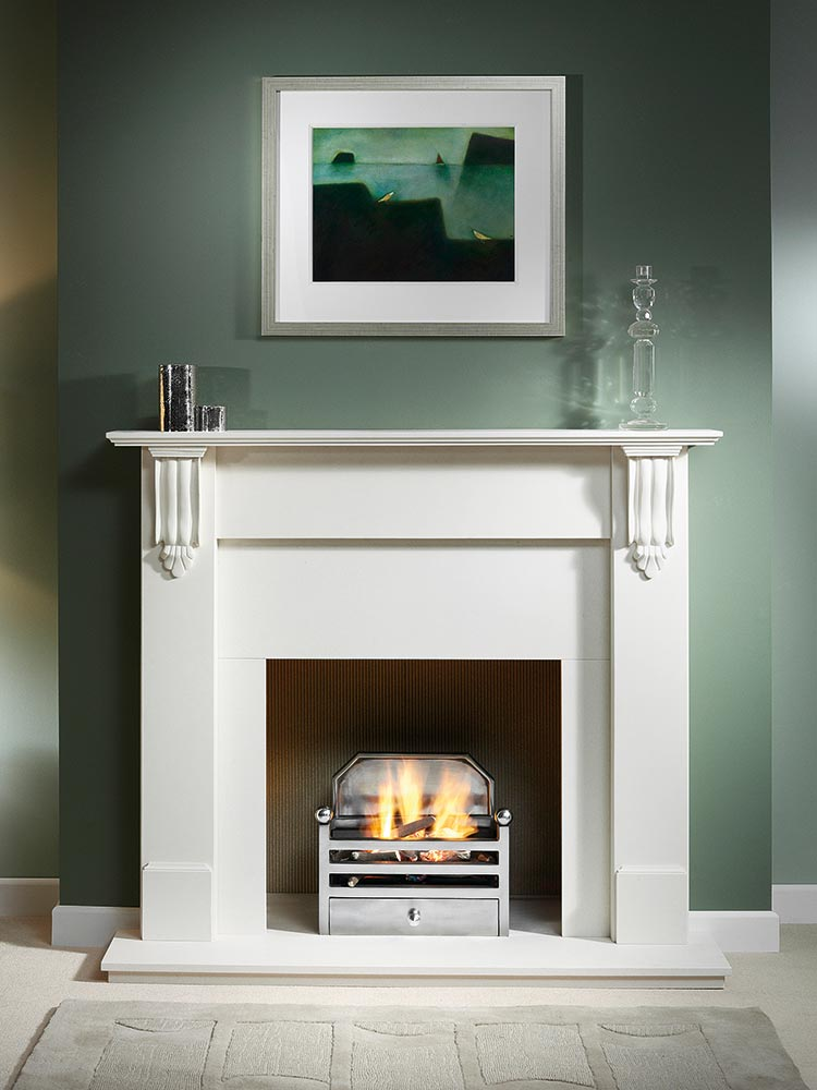 "Richmond 54"" Agean Limestone mantel with Elan fire basket with back in full polished finish, decorative gas fire with ceramic logs, Agean limestone slips, natural reeded fireboard chamber, 54"" Agean limestone hearth and Agean limestone back hearth"