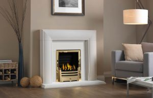 Ascoli Agean Limestone Brass Bauhaus and Decorative Gas Fire