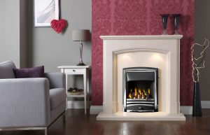 """Broughton 48"""" Fireplace Suite in Satin Beige Micro Marble"""