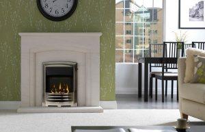 Carlton Fireplace Suite in Portuguese Limestone Solaris Chrome