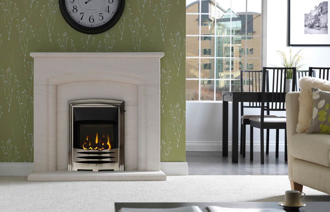 Carlton Fireplace Suite in Portuguese Limestone with Solaris Chrome Frame