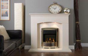 "Helmsley 48"" Fireplace Suite in Satin Beige Micro Marble"