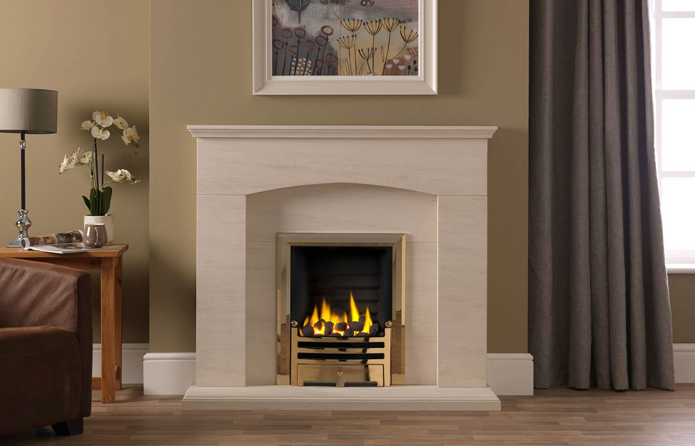 Cartmel Fireplace Suite In Portuguese Limestone with Gallery Bauhaus Antique Brass with Decorative Gas Fire