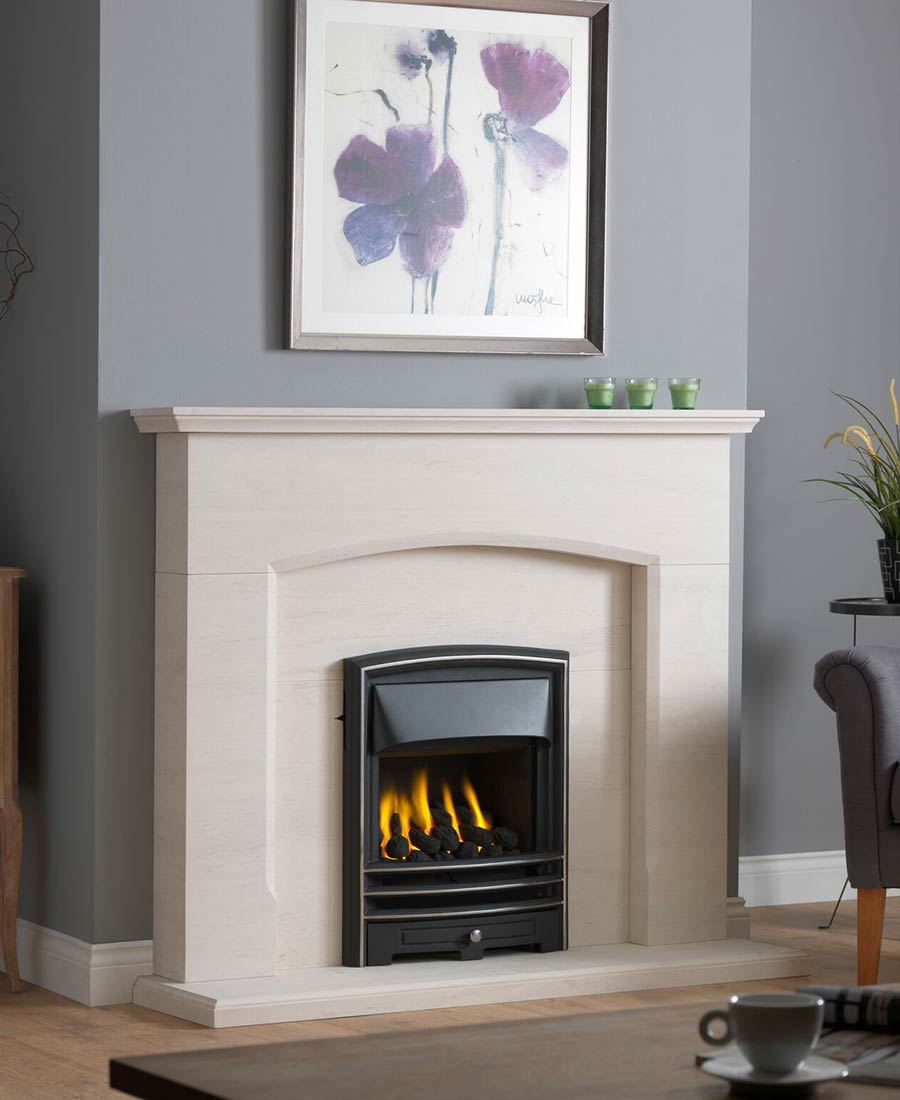 Dacre Fireplace Suite in Portuguese Limestone with Gallery Lunar and Gas Convector Fire (Slide Control)
