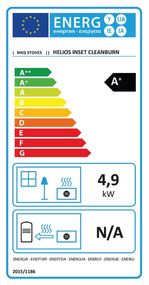 Helios Inset Clean Burn Stove Energy Label