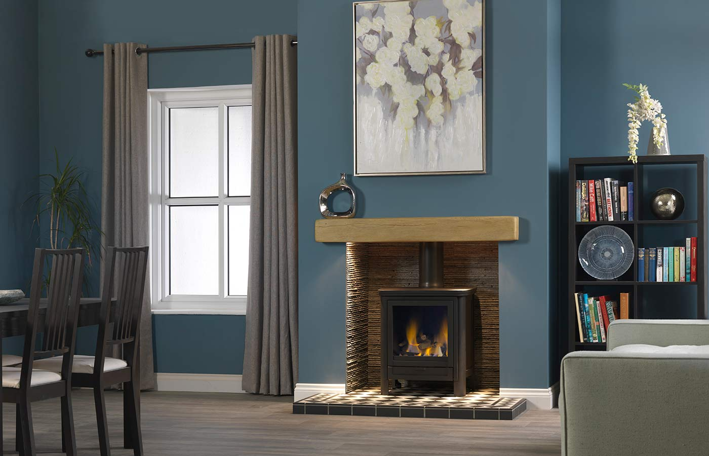 Darwin Gas Stove with light oak effect geocast beam, olive slate waterfall chamber and Harlequin tile slabbed hearth
