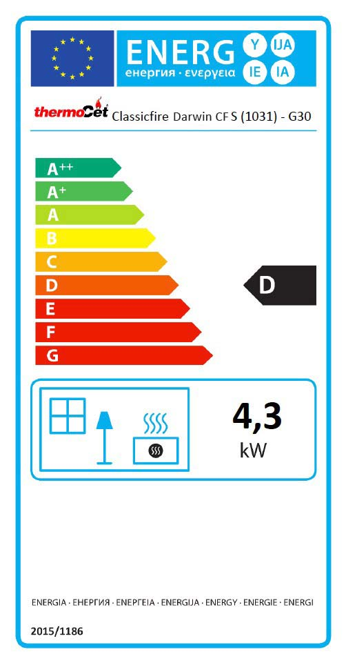 Darwin Conventional Flue LPG Stove Energy Label